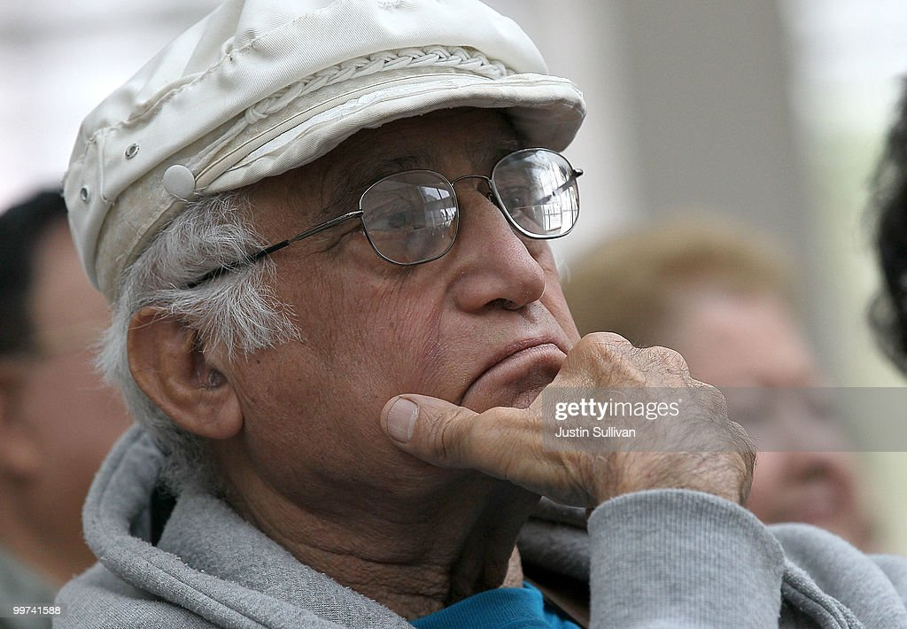 A elderly man looks on during a rally against budget cuts to senior programs at San Jose city hall May 17, 2010 in San Jose, California. Dozens of seniors attended a rally to oppose budget cuts to senior programs which include closing two popular senior centers that offer free meals.