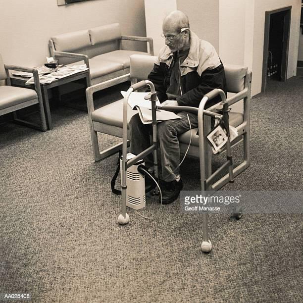 Elderly Man Waits in an Doctor's Office