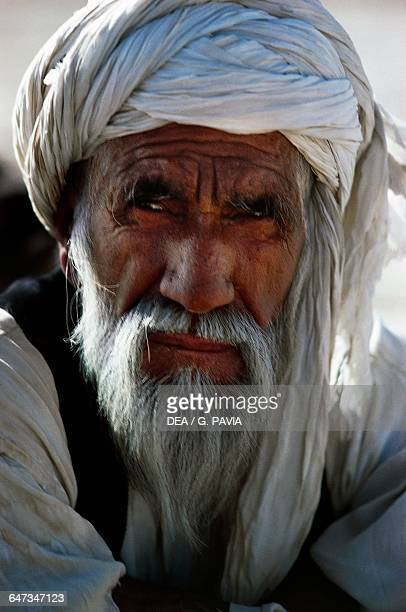 Elderly man with a white turban Afghanistan