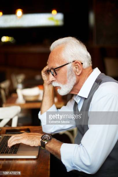 elderly manager concentrates hard while working on a laptop in a cafeteria - surfing the net stock pictures, royalty-free photos & images