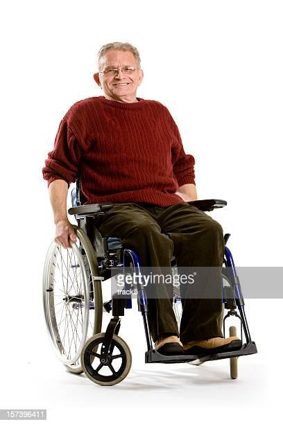 Elderly Model in Wheelchair Against White Background