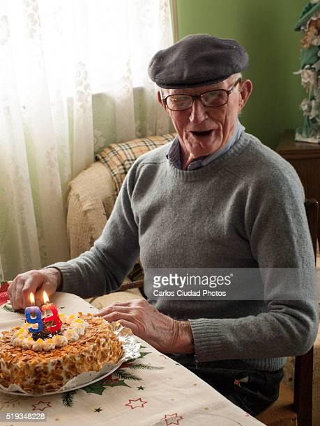 Elderly peasant man celebrating 93th birthday