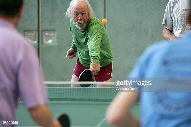 Elderly people play table tennis August 25 2005 in Berlin Germany Germany's economy and pension system is being burdened by an expanding elderly...