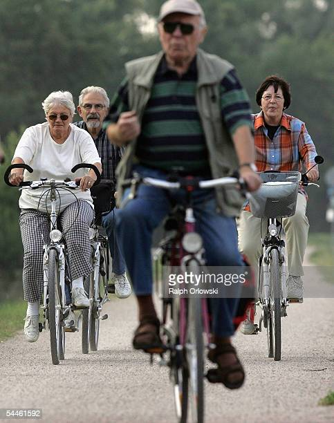 Elderly people ride bicycles on September 3 2005 in Ruesselsheim Germany Germany's economy and pension system is being burdened by an expanding...