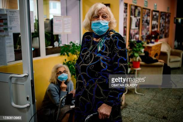Elderly people wait to receive Pfizer-BioNTech COVID-19 vaccine shot against the coronavirus disease at a care home in Sofia on January 27, 2021.