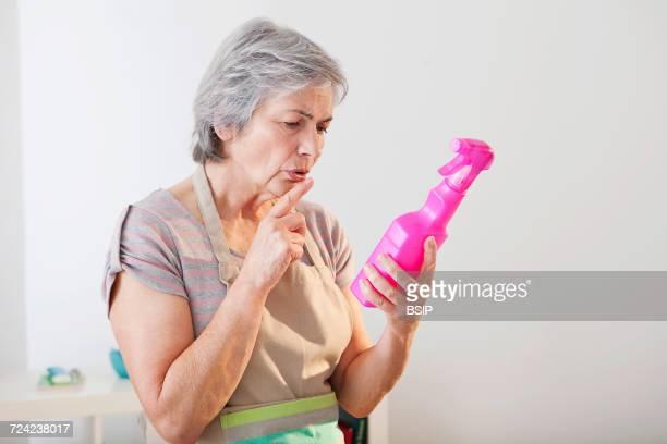 Elderly person doing housework