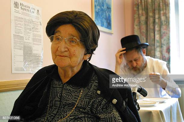 Elderly residents having discussions over lunch in Schonfeld square an Orthodox Jewish old peoples care home run by Agudas Israel Housing Association...
