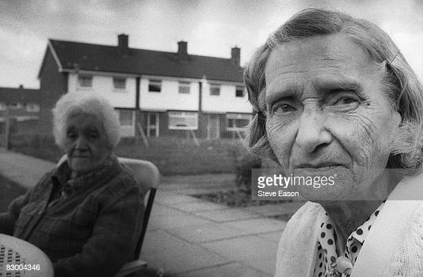 Elderly residents outside an old people's home in Middlesbrough 1986
