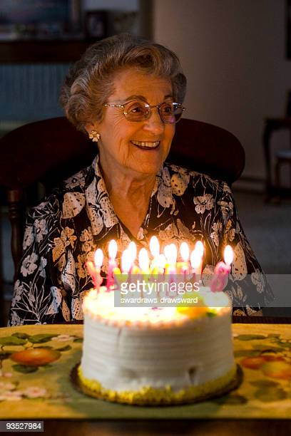 Elderly woman celebrates birthday