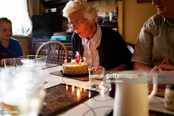 Elderly woman celebrating her birthday