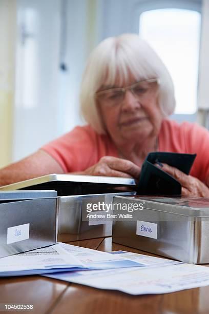 elderly woman costing for household bills