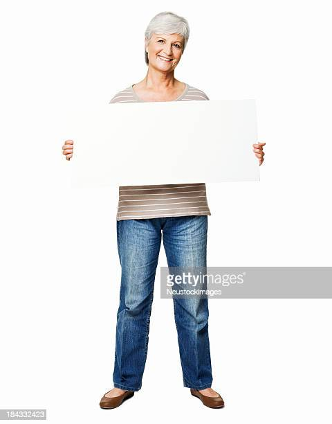 elderly woman holding a blank sign - isolated - person holding blank sign stock pictures, royalty-free photos & images
