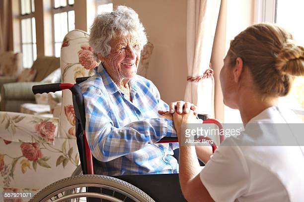 Elderly woman in a private retirement home