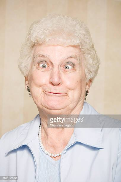 Elderly Woman Making Silly Faces