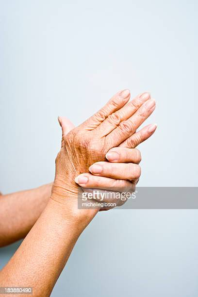 Elderly woman's with arthritis in her hands