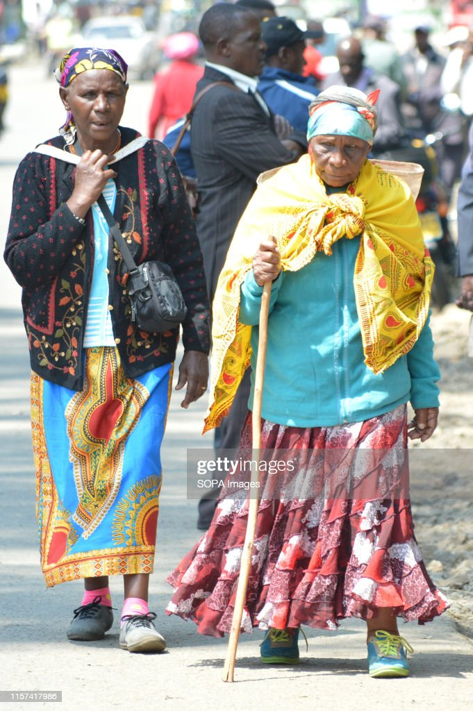 Elderly women affected by the post poll violence are seen... : News Photo