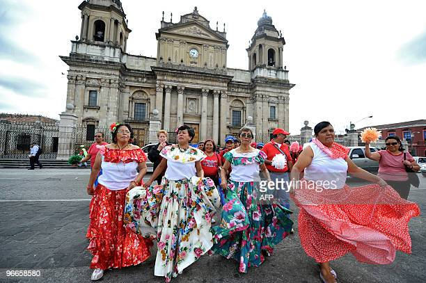 Elderly women dance during the Old Love Parade held as part of the celebrations of Valentine's day on February 13 2010 at Constitution Square in...