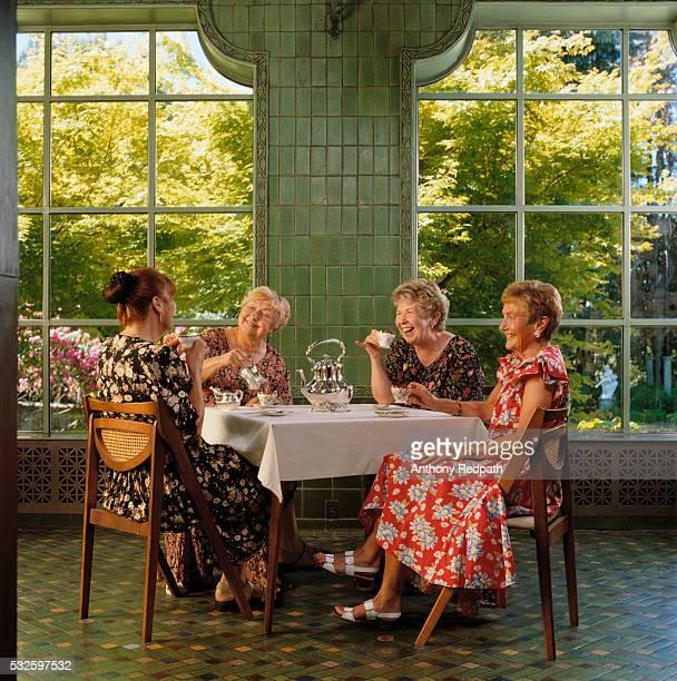Elderly Women Having Tea