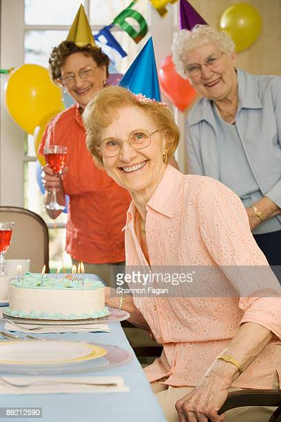 Elderly Women in Retirement Home at Birthday Party