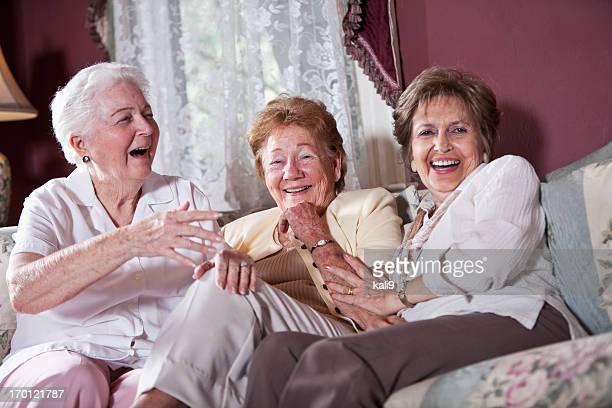 Elderly women on living room sofa