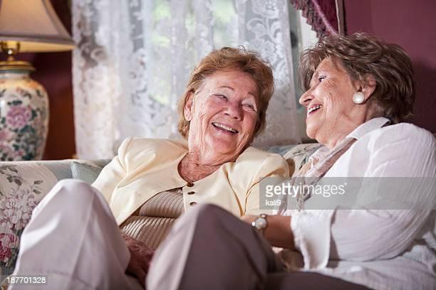Elderly women talking and laughing