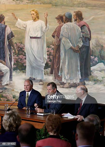 Elders Ronald Rasband Gary Stevenson and Dale Renlund of the Church of Jesus Christ of LatterDay Saints talk to the press after they were called to...