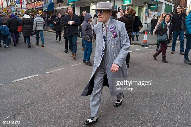 Eldery gentleman wearing a Zoot Suit during Chinese New Year celebrations in central London United Kingdom Tens of thousands of people gathered in...