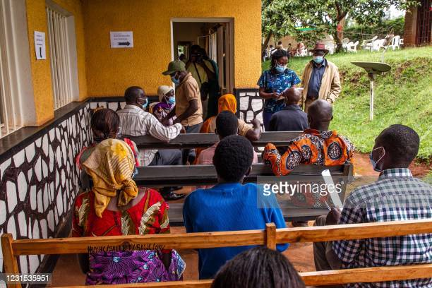 Eldery people wait for receiving the first injection of Oxford AstraZeneca Covid-19 vaccine at Muyumbu Health Center in Rwamagana, East Kigali, on...