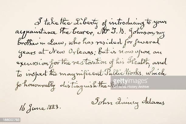 Eldest Son Of President John Adams And Sixth President Of The United States Of America Hand Writing Sample