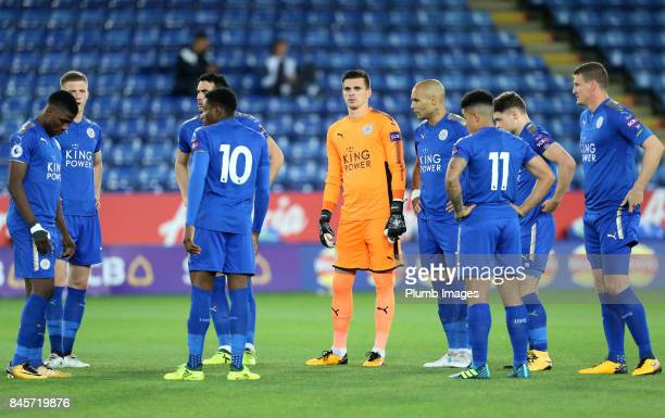 Eldin Jakupovic and Yohan Benalouane of Leicester City ahead of the Premier League 2 match between Leicester City and West Ham United at King Power...