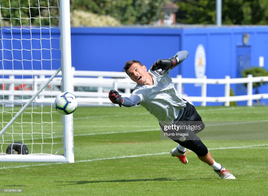 Eldin Jakupovic during the Leicester City training session at Belvoir Drive Training Complex on August 08, 2018 in Leicester, United Kingdom.