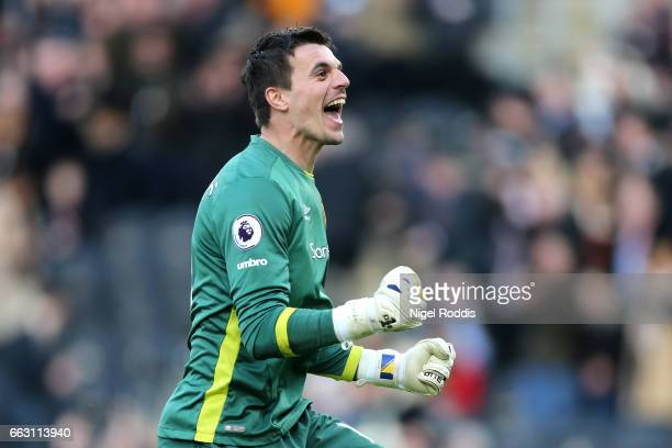 Eldin Jakupovic of Hull City celebrates after final whistle after the Premier League match between Hull City and West Ham United at KCOM Stadium on...