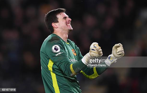 Eldin Jakupovic of Hull City celebrates after the game during the Premier League match between Hull City and AFC Bournemouth at KCOM Stadium on...