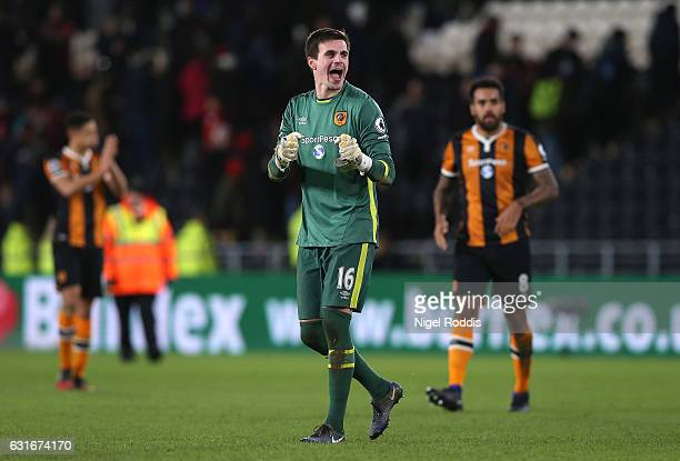 Eldin Jakupovic of Hull City celebrates after the Premier League match between Hull City and AFC Bournemouth at KCOM Stadium on January 14 2017 in...