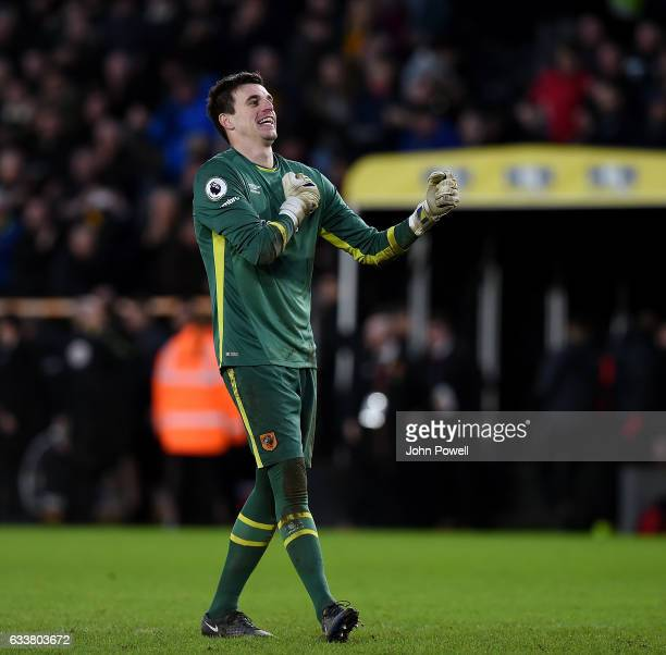 Eldin Jakupovic of Hull City celebrates at the end of the Premier League match between Hull City and Liverpool at KCOM Stadium on February 4 2017 in...