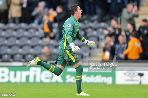 Eldin Jakupovic of Hull City celebrates during the Premier League match between Hull City and West Ham United at KCOM Stadium on April 1 2017 in Hull...