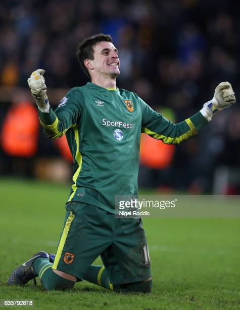 Eldin Jakupovic of Hull City celebrates his side second goal during the Premier League match between Hull City and Liverpool at KCOM Stadium on...