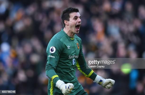 Eldin Jakupovic of Hull City celebrates his side's first goal during the Premier League match between Hull City and Liverpool at KCOM Stadium on...
