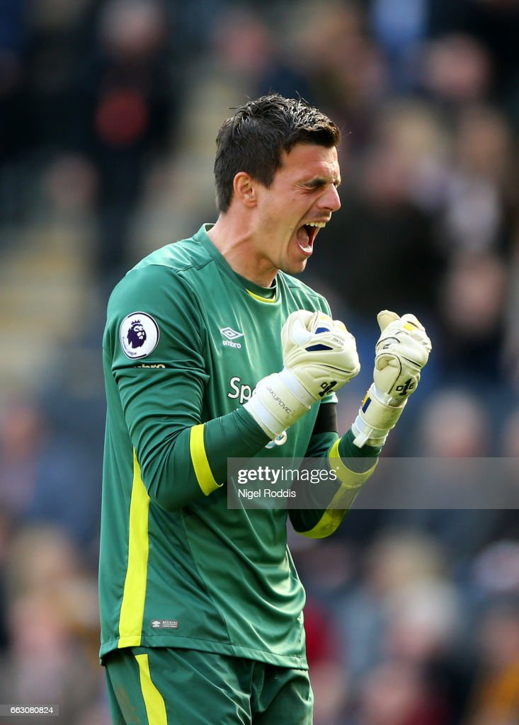 Eldin Jakupovic of Hull City celebrates his sides first goal during the Premier League match between Hull City and West Ham United at KCOM Stadium on April 1, 2017 in Hull, England.