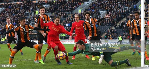 Eldin Jakupovic of Hull City collects the ball during the Premier League match between Hull City and Liverpool at KCOM Stadium on February 4 2017 in...