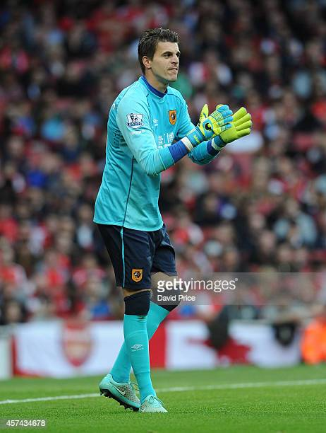 Eldin Jakupovic of Hull City during the match between Arsenal and Hull City in the Barclays Premier League at Emirates Stadium on October 18 2014 in...