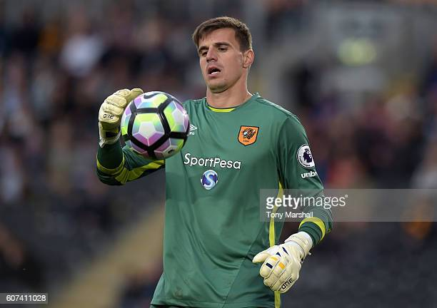 Eldin Jakupovic of Hull City during the Premier League match between Hull City and Arsenal at KCOM Stadium on September 17 2016 in Hull England