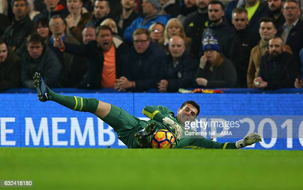 Eldin Jakupovic of Hull City during the Premier League match between Chelsea and Hull City at Stamford Bridge on January 22 2017 in London England