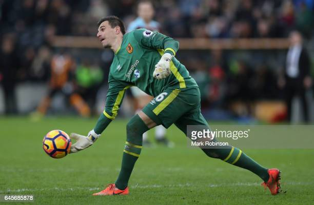 Eldin Jakupovic of Hull City during the Premier League match between Hull City and Burnley at KCOM Stadium on February 25 2017 in Hull England