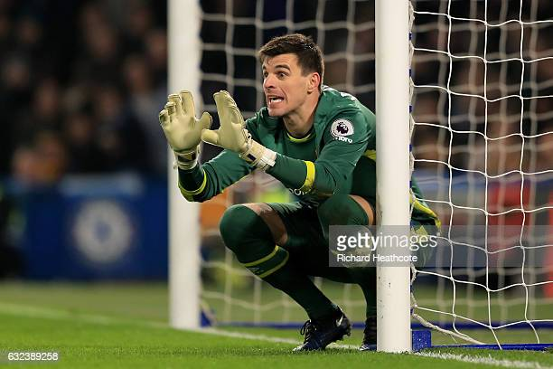 Eldin Jakupovic of Hull City instructs at a free kick during the Premier League match between Chelsea and Hull City at Stamford Bridge on January 22...