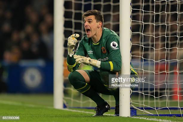 Eldin Jakupovic of Hull City instructs during the Premier League match between Chelsea and Hull City at Stamford Bridge on January 22 2017 in London...