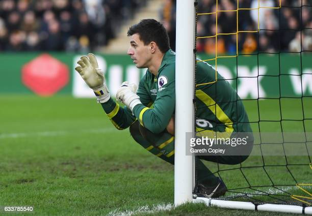 Eldin Jakupovic of Hull City instructs the wall during the Premier League match between Hull City and Liverpool at KCOM Stadium on February 4 2017 in...