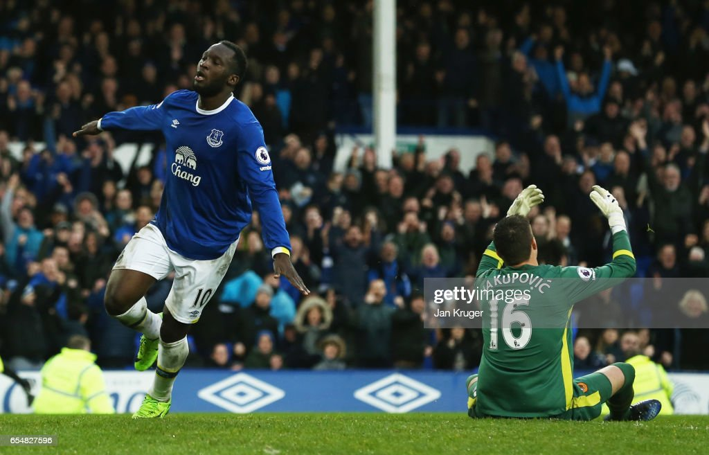 Eldin Jakupovic of Hull City reacts as Romelu Lukaku of Everton celebrates as he scores their third goal during the Premier League match between Everton and Hull City at Goodison Park on March 18, 2017 in Liverpool, England.