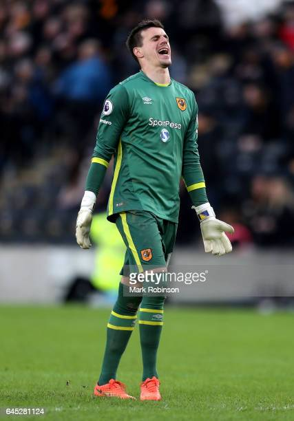 Eldin Jakupovic of Hull City reacts during the Premier League match between Hull City and Burnley at KCOM Stadium on February 25 2017 in Hull England