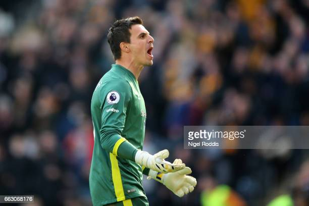 Eldin Jakupovic of Hull City reacts during the Premier League match between Hull City and West Ham United at KCOM Stadium on April 1 2017 in Hull...